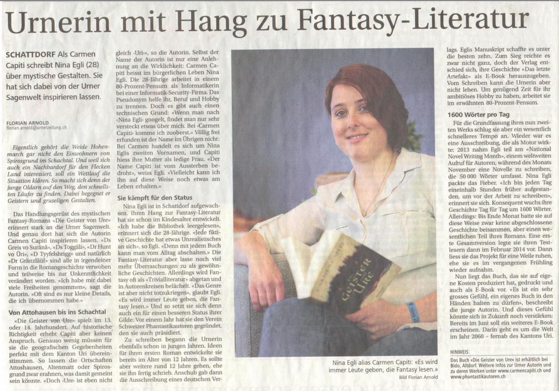 Zeitungsartikel Neue Urner Zeitung (10.05.2016)