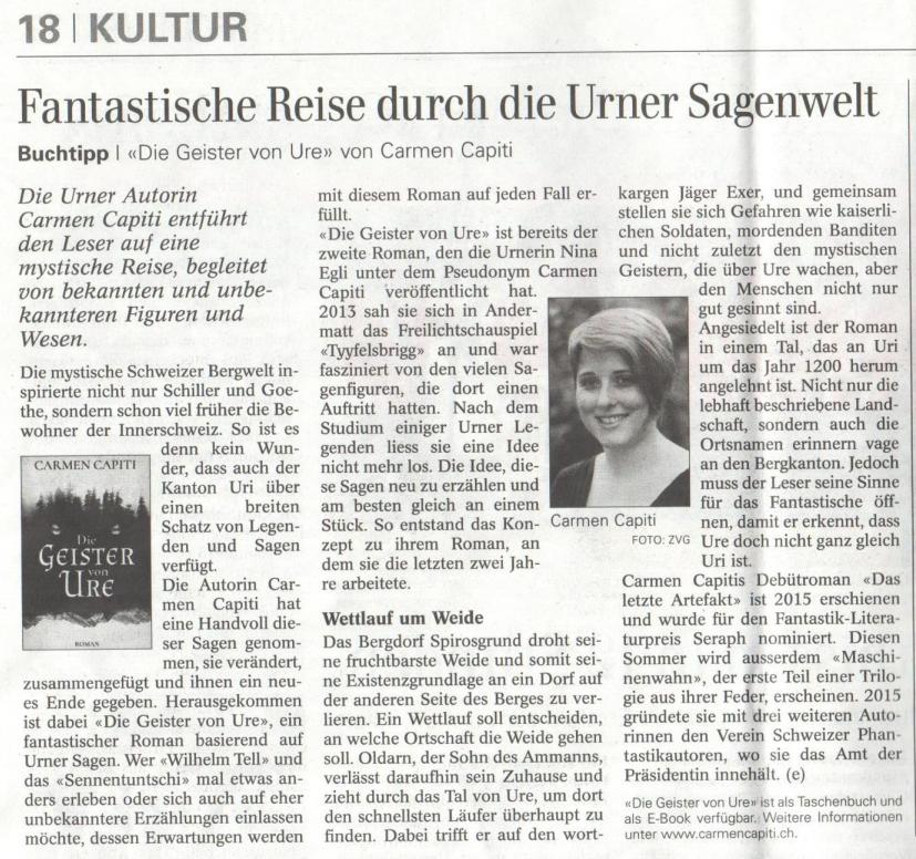 Zeitungsartikel Urner Wochenblatt (14.05.2016)